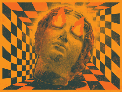 Statue texture halftone pyschedelic checkerboard fire statue retro neon aesthetic