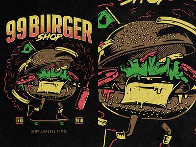 99 Burger Shop fries vector shop skateboard merch burger