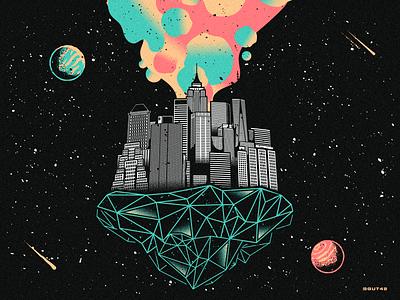 New York - Manhattan Skyline design gradient galaxy retro vector skyline empire state building manhattan new york