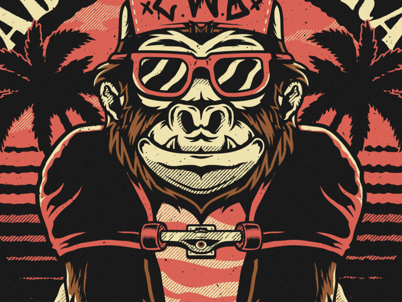 Abraskadabra skateboard summer vector gorilla merch