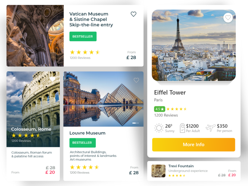 Travel destination or Things to do or visit UI cards icon userinterface uxui ux uxui uitrends userinterface user experience uiinspiration ui design dailyui