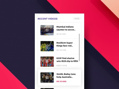Video List Sidebar  app web sports news resources sidebar ux ui videos list articles blog