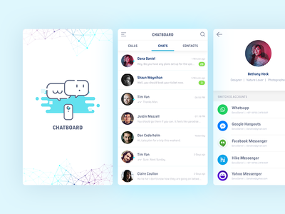 Chatboard - All in One Messenger App 006 profile minimal product messenger app ux daily ui material ios chat