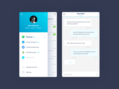 Chatboard - All in One Messenger App 006 account ux user product profile minimal material ios dailyui chat app
