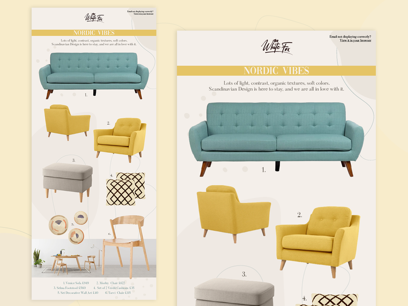 The White Fox scandinavian nordic furniture newsletter design