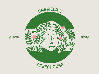 Gabriela's Greenhouse girl plants flower fern minimal character design plant shop branding green nature vector logo illustration graphic design brand identity