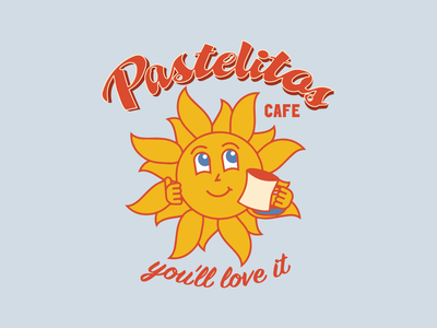Pastelitos Logo texas houston cafeteria cafe branding cafe logo restaurant branding venezuela cafe sunset restaurant sun character design character vector logo illustration branding design graphic design brand identity