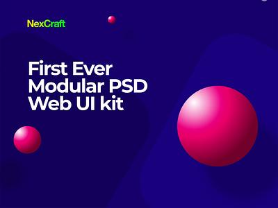 NexCraft | Modular PSD Template and Web UI Kit illustration app theme animation template ux creative mobile ui design
