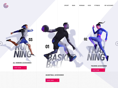 Sports Accessories Web Template animation theme template business website design sportswear sports branding