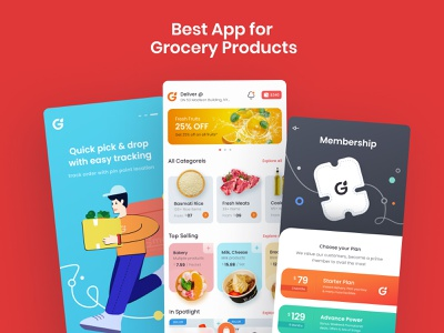 Gmart | Groceries Mobile UI Screens Figma Template app creative website business template design online shopping mobile app grocery app grocery