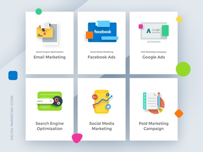 Digital Marketing Icons business design posts graph marketing search engine campaign ads google facebook icon