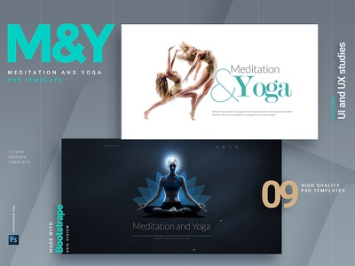 Meditation & Yoga healthcare psd business template theme website kit ui wellness yoga meditation design