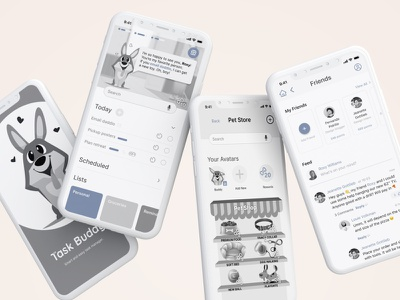 Mid-fi: Social task management app with gamification figma ui product design mobile design mobile ui mobile uiux productivity app task manager task management mid-fi mobile app app design