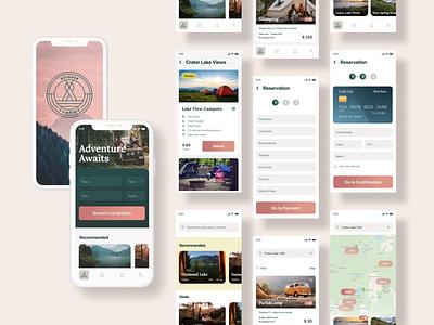 Campsite Booking iOS App checkout process mobile app ux app design mobile ui figma ui product design