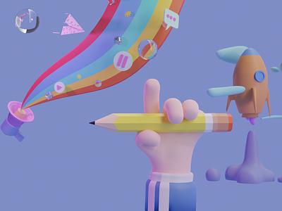 3D illustration hand blender3d 36daysoftype branding c4d blue minimal cinema4d blender 3d blender 3d artist 3d art 3d