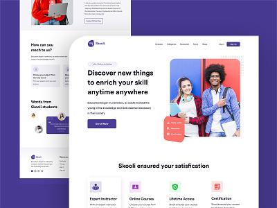 Skooli education website freebies graphic design ui ux illustrator branding graphicdesign web website illustration design