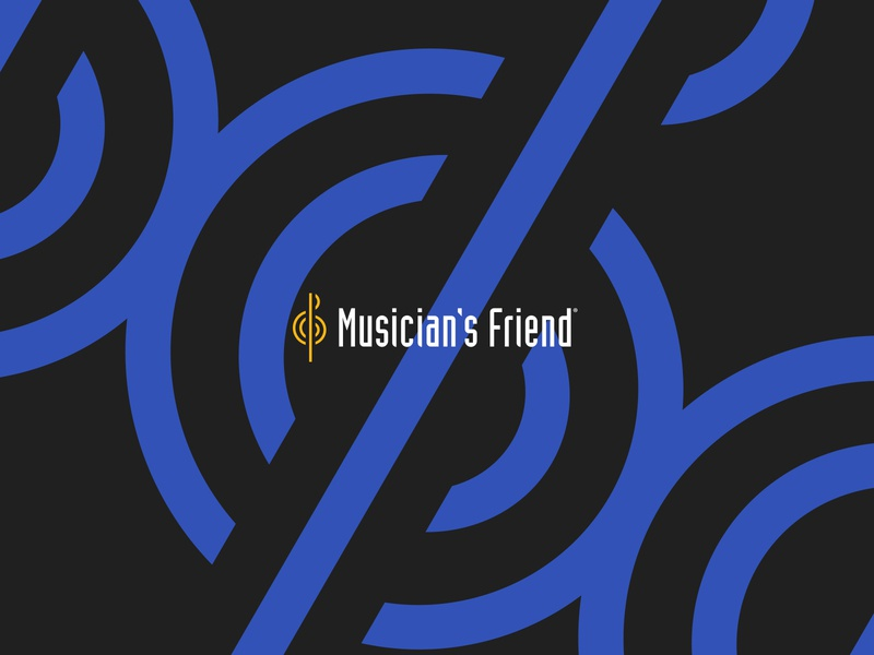 Musician's Friend Logo on Pattern retail music retailer music logotype logomark logo design logo identity design identity graphic design ecommerce digital design design branding