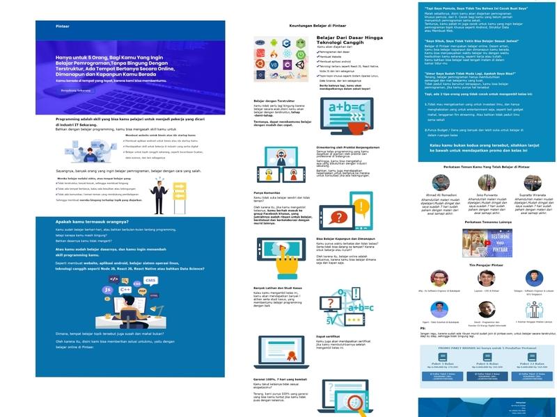 Redesign page eksklusif package Pintaar.com web branding ui ux design