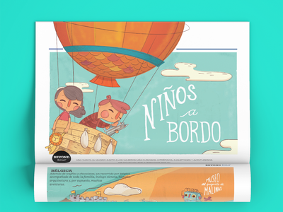 Kids on Board air magazine air balloon travel children illustration editorial illustration