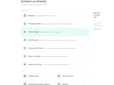 Contact page — customer support kiwi white ui modern support page landing equity design clean