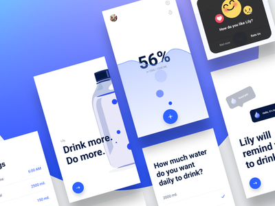 Side project: Lily Water Reminder ui bottle cta dialog android water app ios