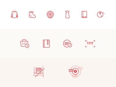 Muji Icons location qr code scanner seasoning pot buy box notebook cookie fan icon muji