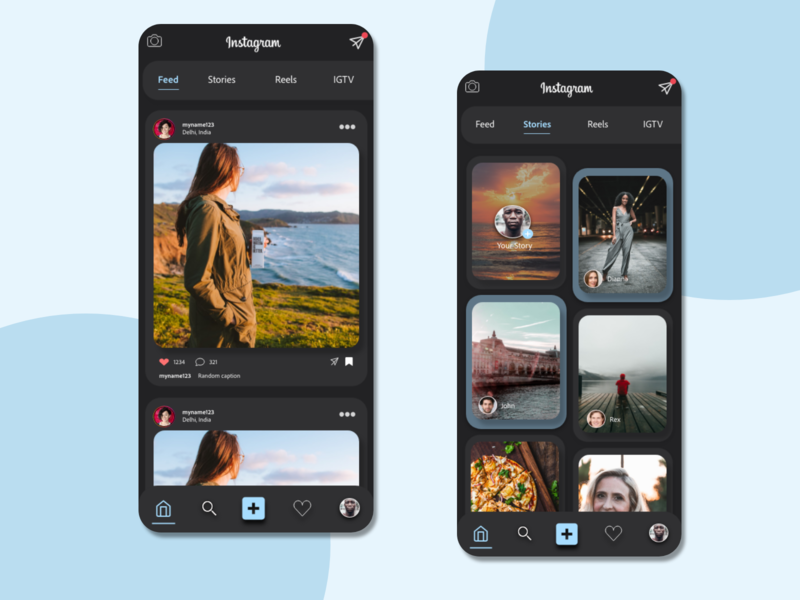 Instagram redesign dark mode darkmode dark ui beginner xd design xd redesign concept redesigned redesign instagram template instagram stories instagram post instagram insta ui adobexd adobe