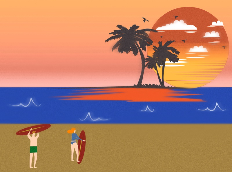 Surfers beach surfers surfing illustration design