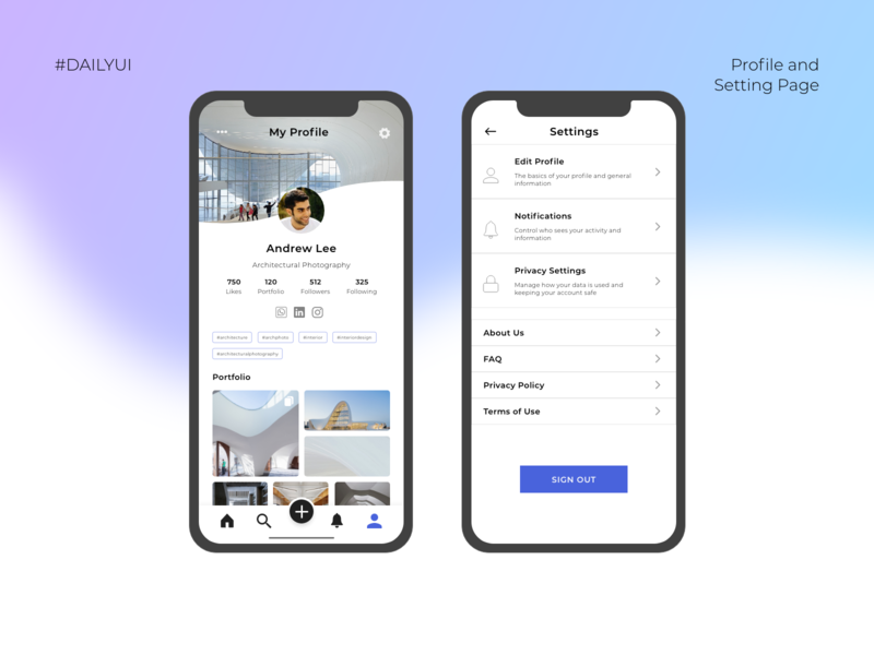 Profile and Settings Page UI Mobile App - Daily UI Day 006 & 007 dailyui006 setting page interface profile page daily ui user interface uidesign ui dailyuichallenge dailyui user experience uiux mobile app