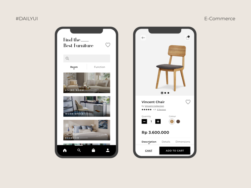 E-Commerce Page UI Mobile App - Daily UI Day 012 furniture store furniture app e-commerce app e-commerce dailyui 012 user interface ui ui design uidesign dailyuichallenge dailyui uiux user experience app design app mobile app