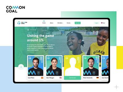 Common Goal - Football Charity Website philanthropy giving back social impact donation design thinking logo branding desktop header card ui landingpage ux  ui