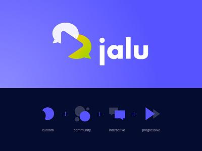 Logo Evolution - Jalu - Sports Game Commentator progressive interactive community custom play button speech bubble logotype metaphor icon logo branding