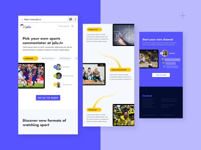 Landing page - JALU  Live stream Commentating branding together channel sport game live stream mobile intro design thinking ui  ux app
