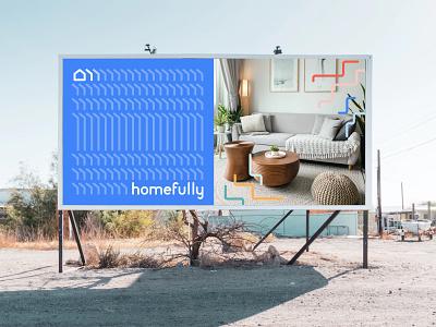 homefully co-living - Billboard flatshare interior co-living housing mockup pattern logo billboard poster renaming rebranding
