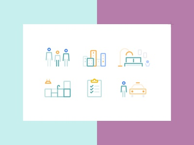 homefully co-living - Icon Set roommates urban taxi checklist bedroom kitchen interior flatshare housing co-living rebranding pictogram icon