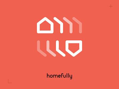 Logo - homefully co-living stacked mirror identity red home branding logo