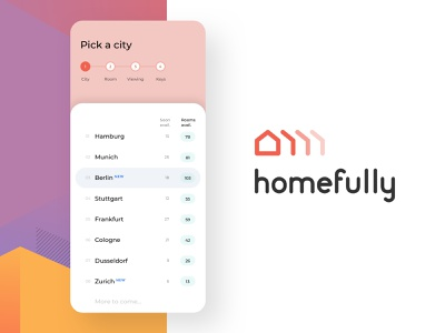 City Picker - Co-Living App home finding step by step rooms ux app available list picker logo ui