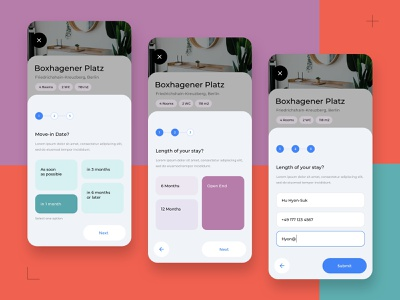 Sign-up - Co-living App ux ui step by step material you selection button sign up card application home app