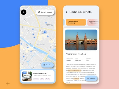 Map view 👉🏽 District view - Co-Living App user research design thinking app ui ux card view detail view stats material you housing co-living rent apartment room district map
