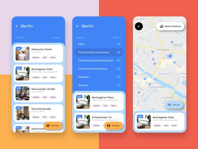 Apartment Listing with District Filter - Co-Living App dropdown co-living user research design thinking search filter pills widgets card view material you ui ux flatshare room rent apartment listing