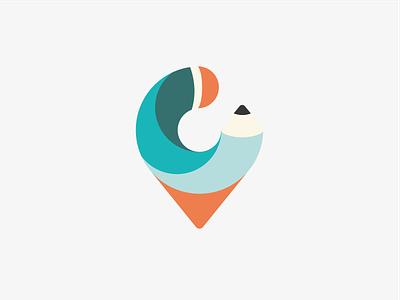Logo - Creative Challenge Network pin pen art challenge creative swirl orange green flat logo