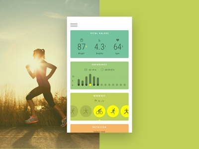 Health App dashboard running green ux ui workout tracker progress dashboard app health fitness