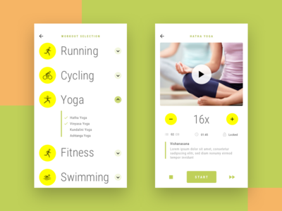 Health App - Workout and Session yellow running yoga fitness health ios flat ux app icon design ui