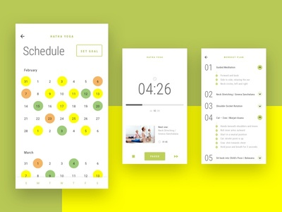 Health App Calendar mobile type ux yellow workout yoga goal calendar health ui app