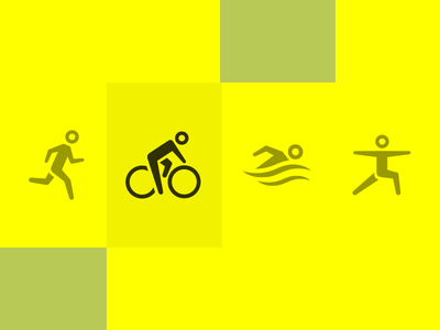 Gender-neutral Sport Icons (Sketch file) freebies flat vector illustration human gender yellow health sport icon