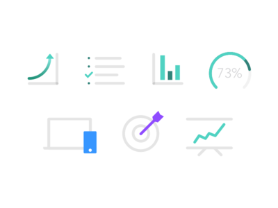 Skive Icons flat branding chart target device progress statistic color illustraton icon