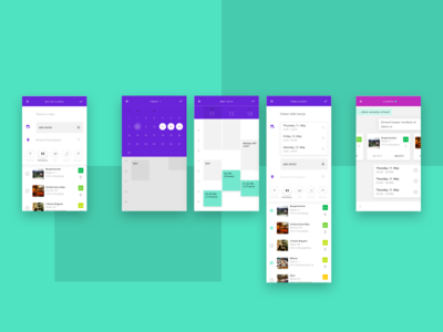 Set up a Date - User Flow material design schedule green single dating location calendar purple flat app ux ui