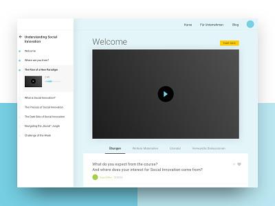 Unit Page sidebar timeline progress quiz tabs navigation video unit course webapp ui ux