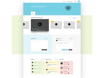 Dashboard - Online Courses learn activity feed input progress video widget ui ux chapter course dashboard