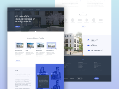 Real Estate Landingpage icons flat material design website housing serious corporate real estate ux ui